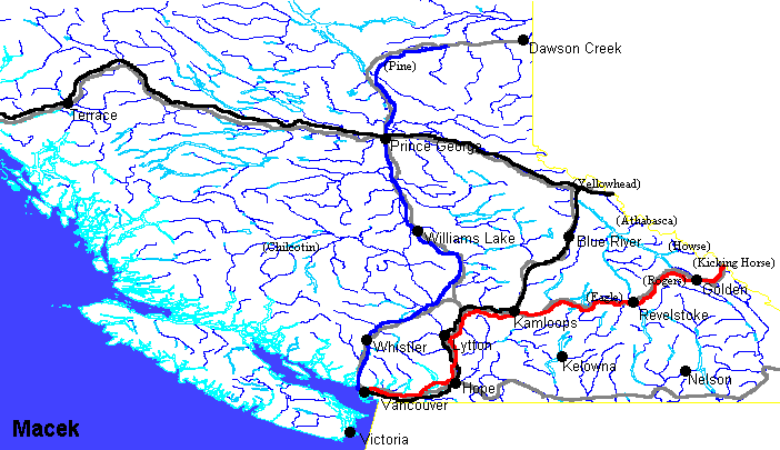 map of british columbia. southern British Columbia,
